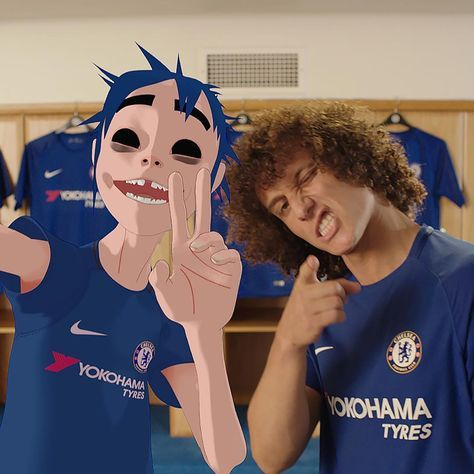 Cut from the same cloth. 2D @Gorillaz and @DavidLuiz_4 looking in Get your hands on the new @chelseafc 17/18 home kit, available now at Nike.com/Chelsea. -- #Nike #Football #Soccer #Chelsea #CFC #ChelseaFC #London #WeAreThePride