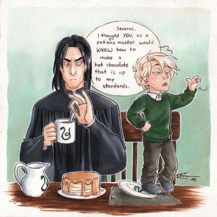 Severus Snape, Draco Malfoy Hot Chocolate by CaptBexx.deviantart.com on @DeviantArt