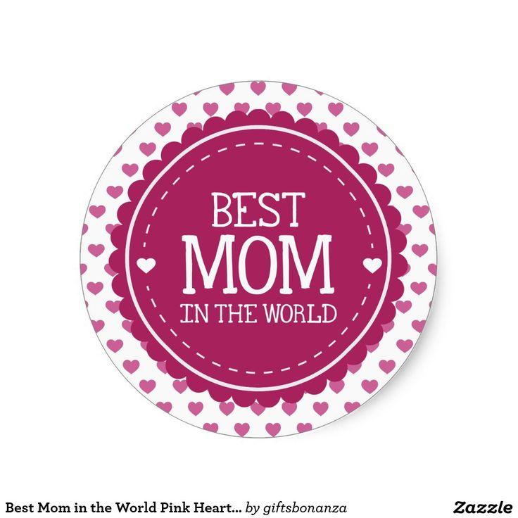 Beste Mamma in de Roze Harten en de Cirkel van de Ronde Stickers