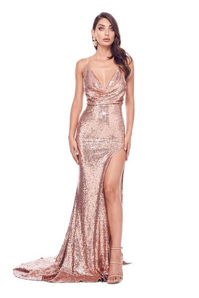 a5836a3200 Andriana - Rose Pink Sequin Gown with Cowl Neck