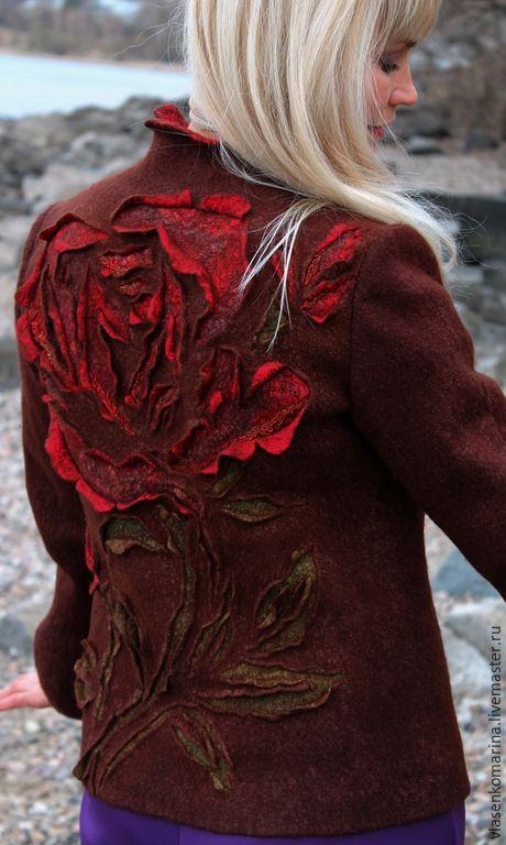 Купить Жакет валяный Сладкий аромат роз - коричневый, цветочный, жакет валяный, жакет женский