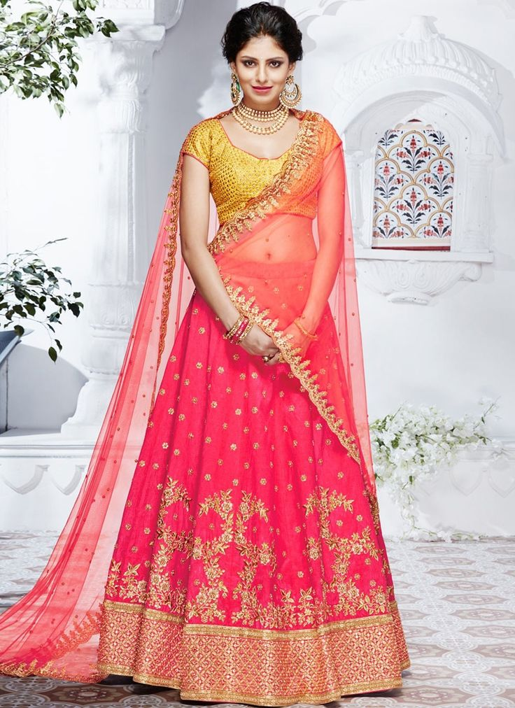 Shop Net Silk Hot Pink Color Lehenga Choli Online