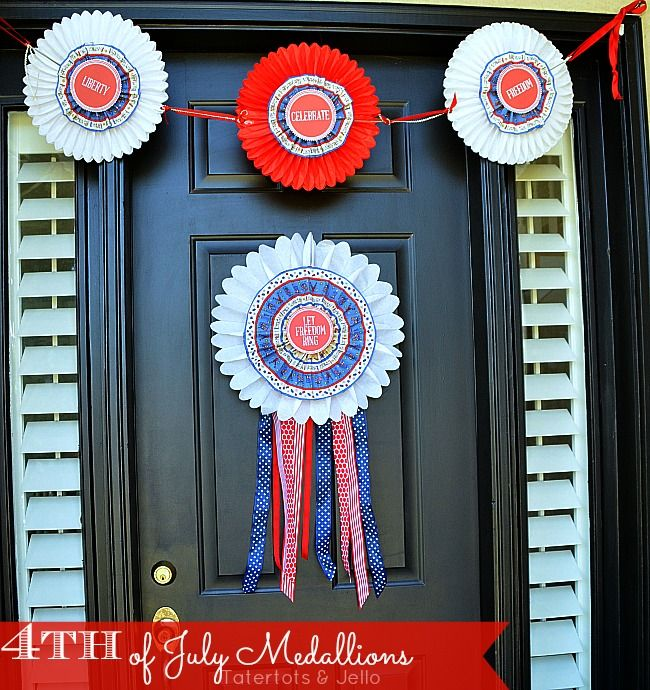 """Tatertots and Jello: Patriotic Door Medallions (Free Printables) and """"I Love The USA"""" Blog Hop!"""