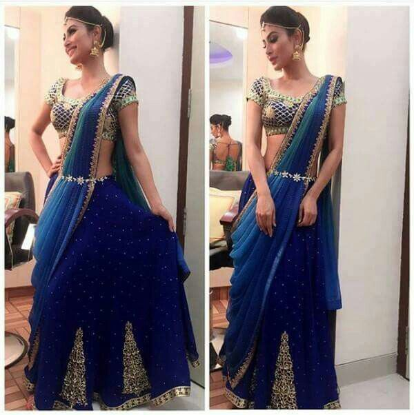 Mouni roy #Looking #super #stylish in #blue #saree #beautiful #tv #rk