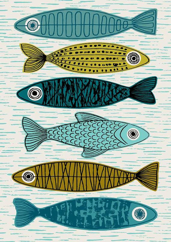 Six Fish is a variation on my popular Five Fish print, with a slightly different composition and lighter, fresher palette. Im a huge fan of the fish-related imagery often used in mid century ceramics, so enjoyed drawing and creating my own version of the theme to decorate walls. Colours used in this piece include old gold, olive green, turquoise and teal on a neutral stone background. All my images start life as something hand created, either painted, printed or drawn. My images are then…