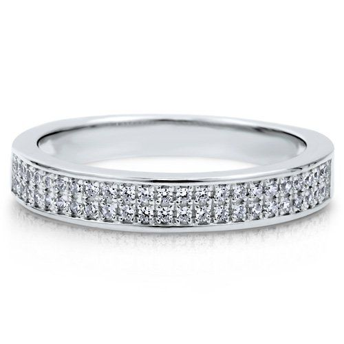 2-Row Clear Cubic Zirconia CZ Sterling Silver 925 Half Eternity Band - Nickel Free Fashion Right Hand Ring