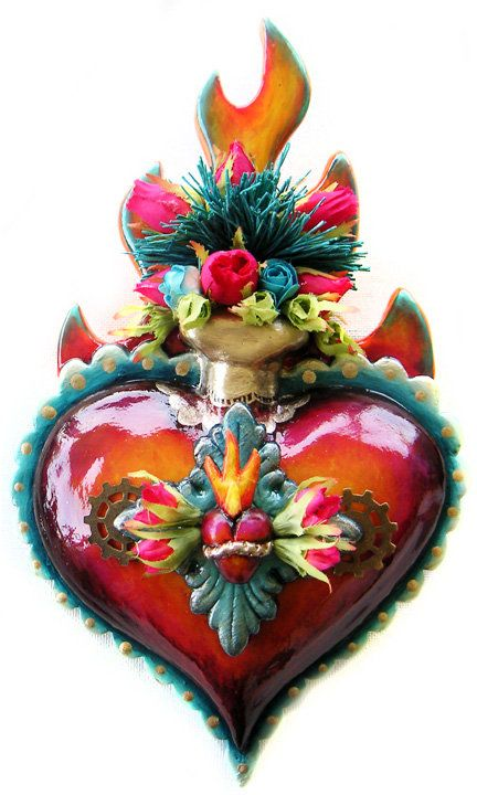 mixed media on painted, hydrostone sacred heart