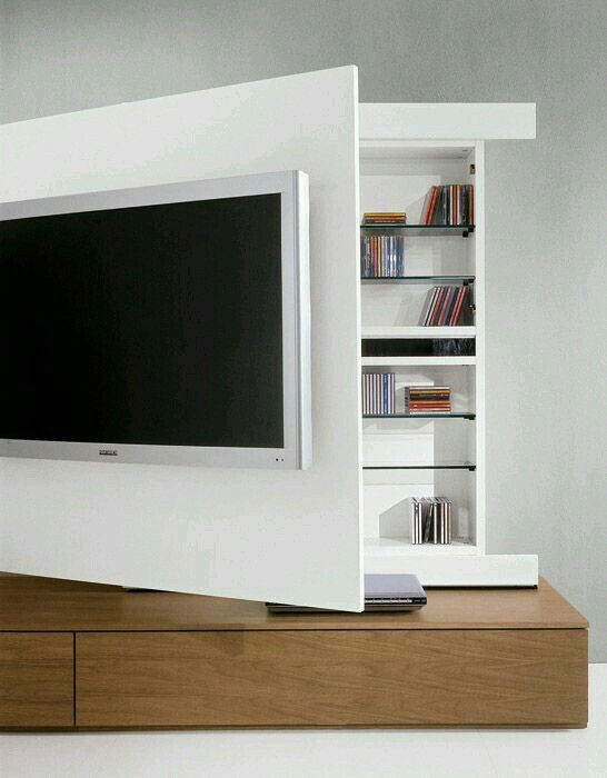 tv unit moveable front for hidden storage and easy access to input and outputs