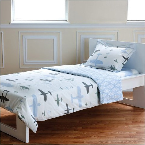 organic duvet set with planes & clouds - perfect for a toddler's room