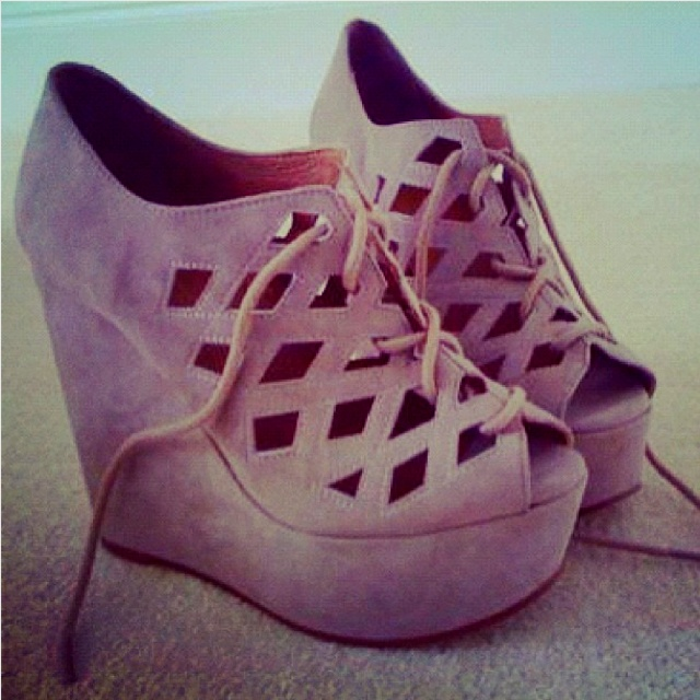 Taupe cutout wedges