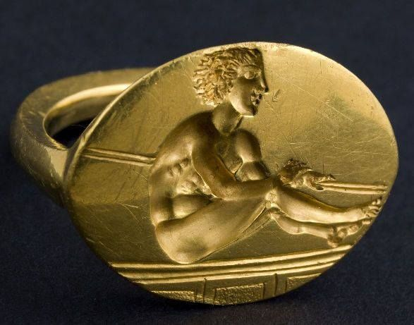 """Thracian Ring Depicting An Olympic Rower, 5th Cen. BC Found in 2004 in a mound called  Golyamata Kosmatka  (literally meaning The Big Hairy)   at the """"The Valley of the Thracian Kings,"""" near the town of Shipka (map), Bulgaria,"""