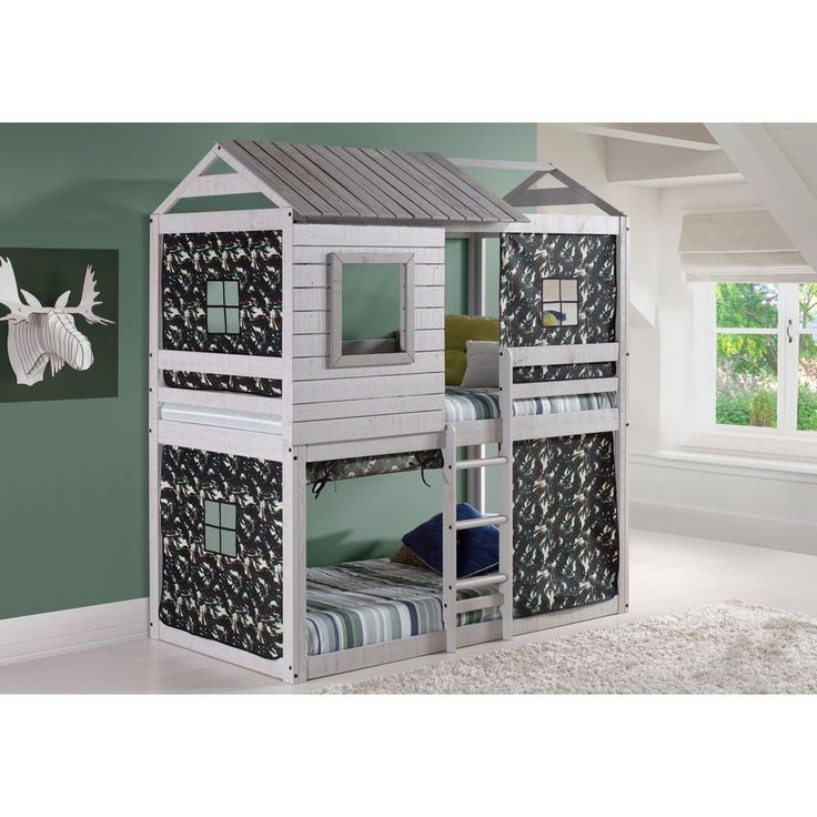 Unique Kids Loft-Style Light Grey Twin-over-Twin Bunk Bed with Green Camo Tent  #TwinBunkBed