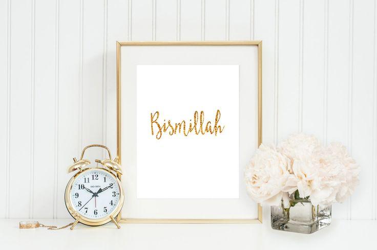 Bismillah Print  Eid Gift Islamic wall decor islamic wall art islamic art by MissKhanLA on Etsy https://www.etsy.com/listing/245540304/bismillah-print-eid-gift-islamic-wall