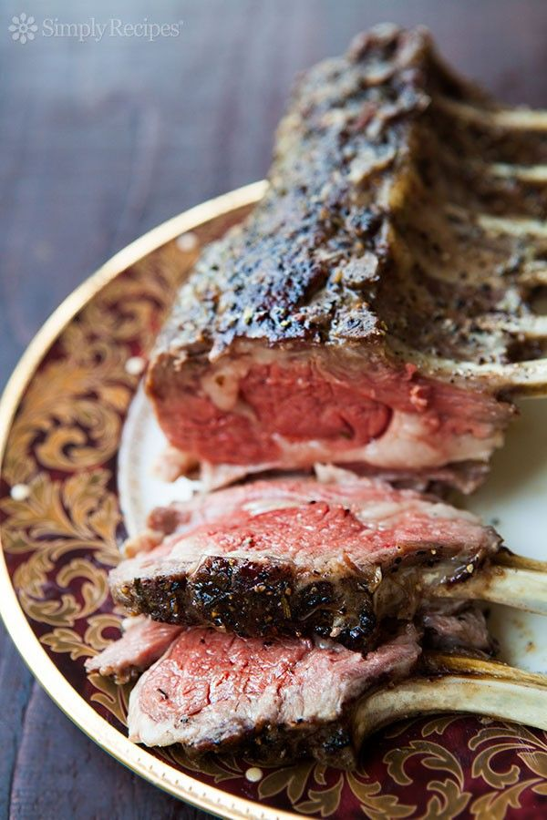 Classic Rack of Lamb ~ Tender oven-roasted rack of lamb, seasoned with rosemary, thyme, garlic, salt and freshly ground black pepper, and slathered with olive oil. ~ SimplyRecipes.com