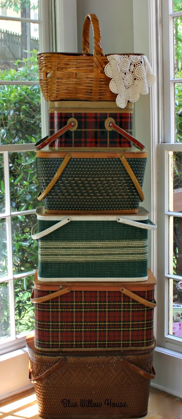 I love this picnic basket collection fro Blue Willow House. So useful as storage too!