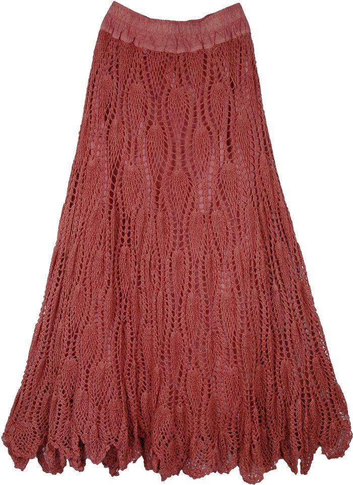 Crochet Bohemian Long Skirt in Copper Rust