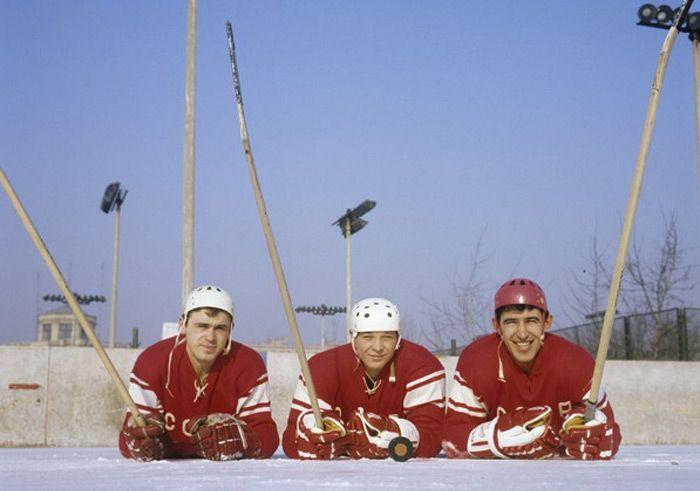 Soviet Union national ice hockey team (from left to right), Olympic champion Vladimir Vikulov, Alexander Maltsev and Olympic champion Anatoly Firsov. 1969.