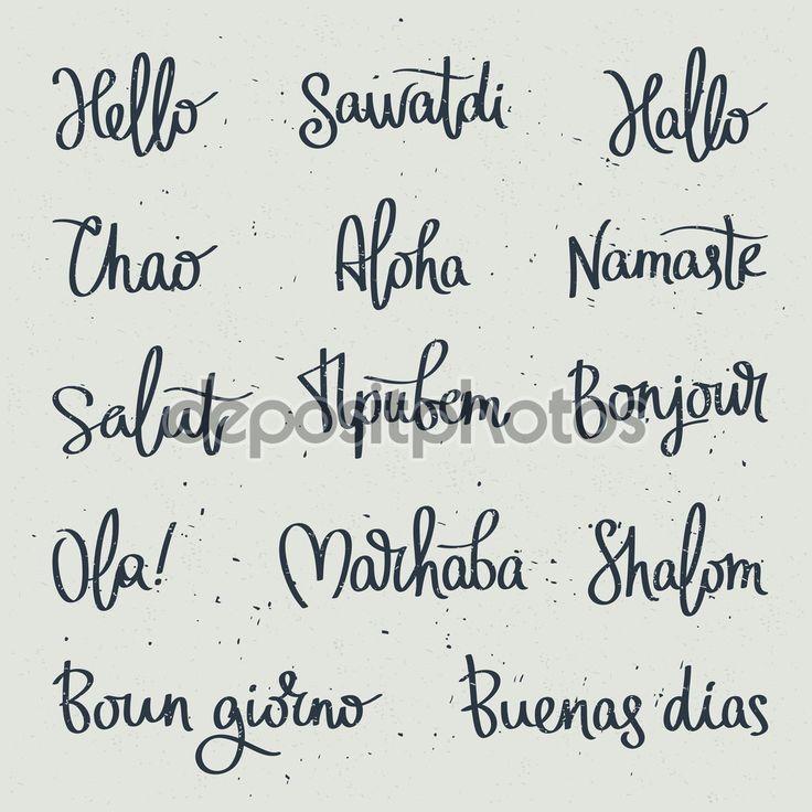 Establecer la palabra Hola en diferentes idiomas. Caligrafía de moda. Ilustración de vector sobre fondo blanco. Elementos para el diseño. Hola logo