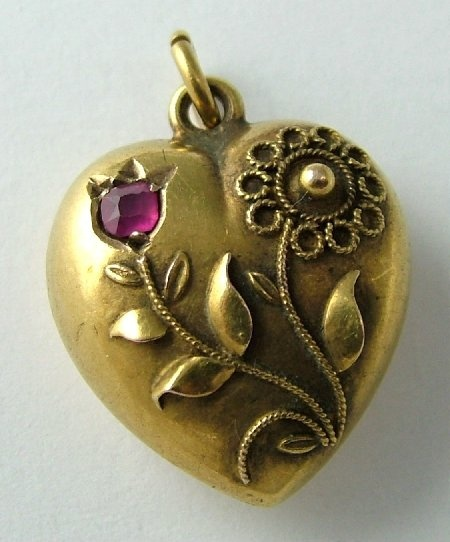 Edwardian 15ct Gold & Ruby Puffed Heart Charm