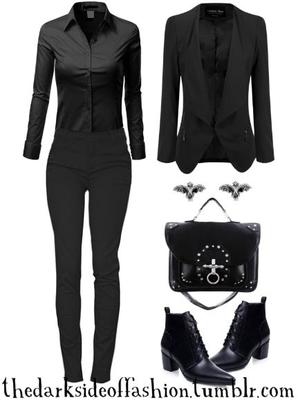 Let's get down to spooky business. Buy Here >>> Blouse $24 / Pants $30 / Blazer $35 / Bat Earrings $15 / Bag $71 / Boots $32