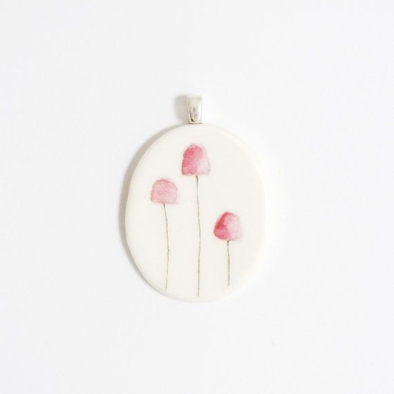 Pink Fungi porcelain pendant handmade by Mouseblossom on Etsy
