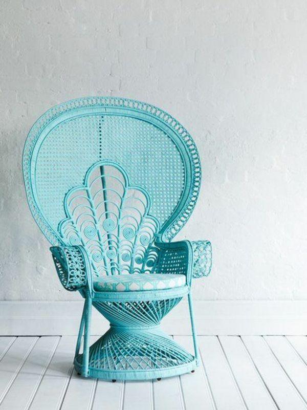rattan lounge möbel schicker sessel blau