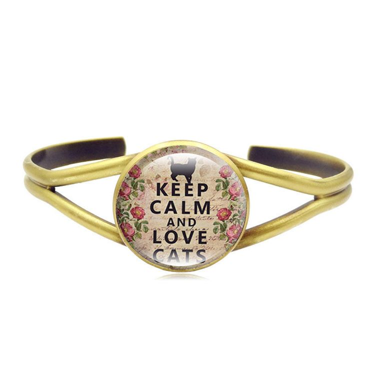 """Keep Calm & Love Cats"" Bangle Bracelet (2 Colors)"