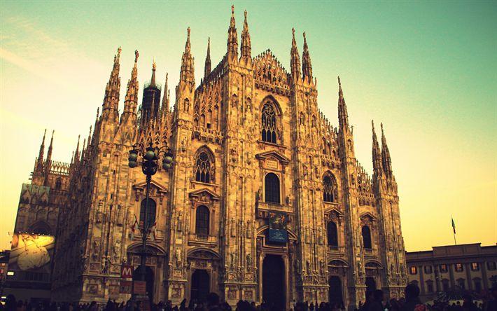 壁紙をダウンロードする ドゥオーモ, 大聖堂の教会, 4k, ドゥオーモミラノ, ミラノ, イタリア