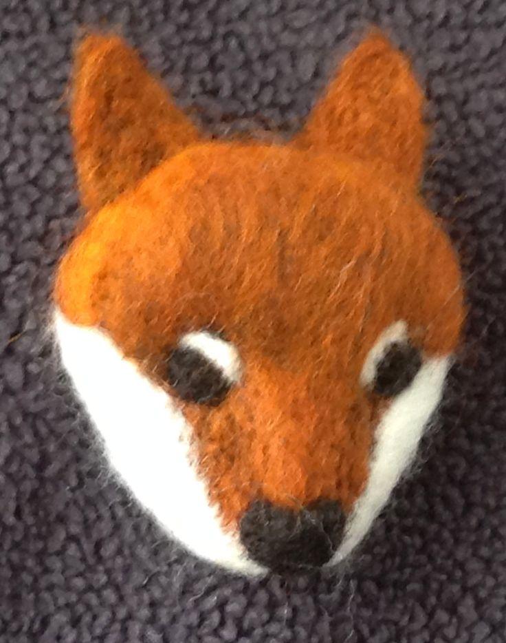 Needle Felted Brooch Fox, Handmade Needle Felted fox, Handmade Brooch,  woodland animal,  needle felt fox by lynnsartofstitching on Etsy