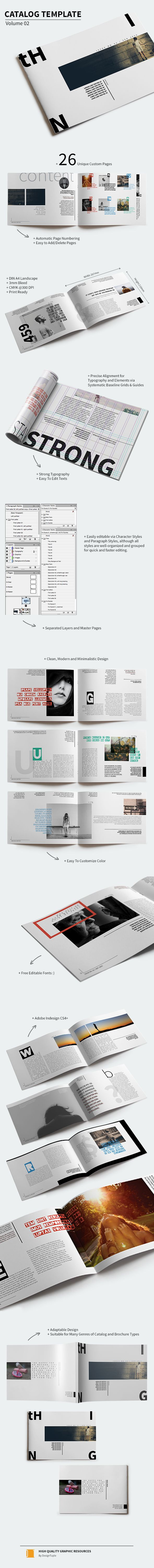 A clean, modern and minimalistic catalog template designed primarily for any type of catalog or brochure. The template consists of 26 unique custom pages including rear cover and front cover pages and can suit many genres of catalog and brochure types suc…                                                                                                                                                                                 Más
