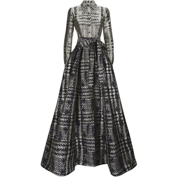Carolina Herrera Jacquard Trench Gown ($6,295) ❤ liked on Polyvore featuring dresses, gowns, carolina herrera, long dress, long formal dresses, carolina herrera evening gowns, long pleated dress, carolina herrera gowns and formal evening gowns