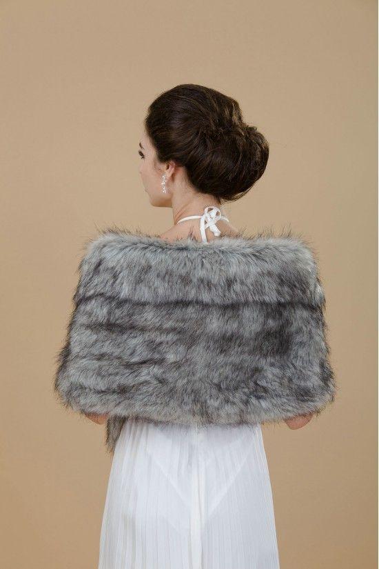 Aukmla 2016 Fashion Bridal Fur Stole for Women-Wedding Faux fur Shawl Wrap for Bride