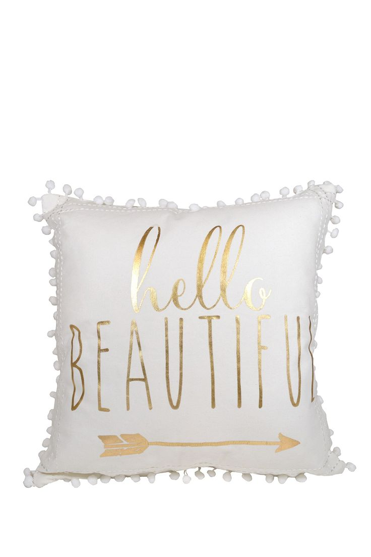 ENCHANTE   Foil Printed Pillow with Pompoms   Nordstrom Rack