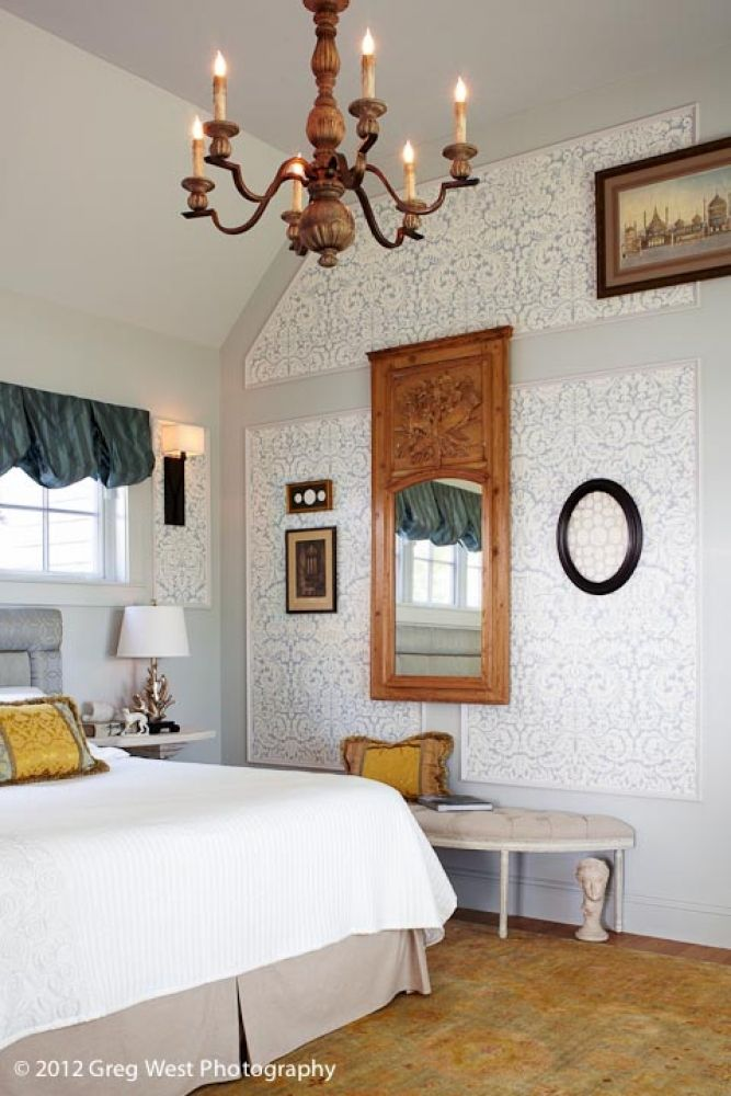 Beautiful bedroom retreat-custom headboard, antique French trumeau mirror with original finish! Panels with wallpaper custom designed by Meredith Bohn Interior Design