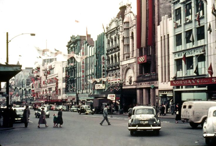 Melbourne Bourke St Looking West from Russell St. November 1956 - Olympic City