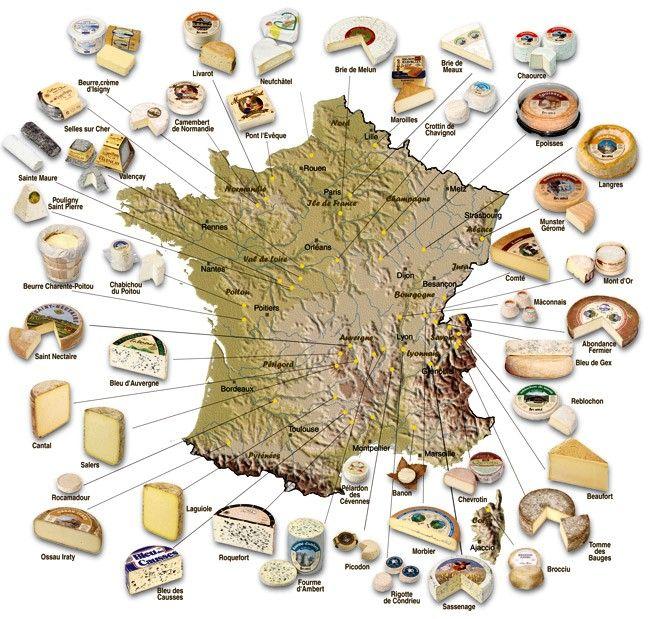 Carte des fromages de- France. Naturellement vivant en le ch'nord pour moi c'est presque toujours le Maroilles. Map of French cheeses. Naturally for me living in the north, it's almost always Maroilles.