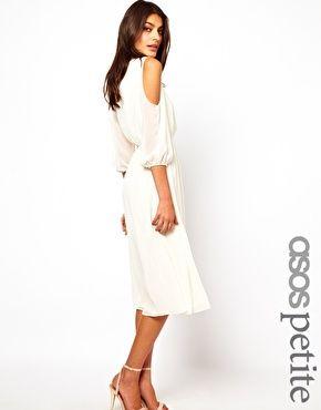 ASOS PETITE Midi Dress With Cold Shoulder Detail