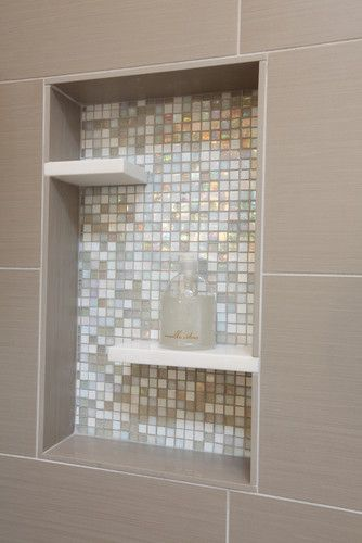 Shower niche, glass mosaic tile, pure white caeserstone shelves inserts, taupe porcelain...great idea
