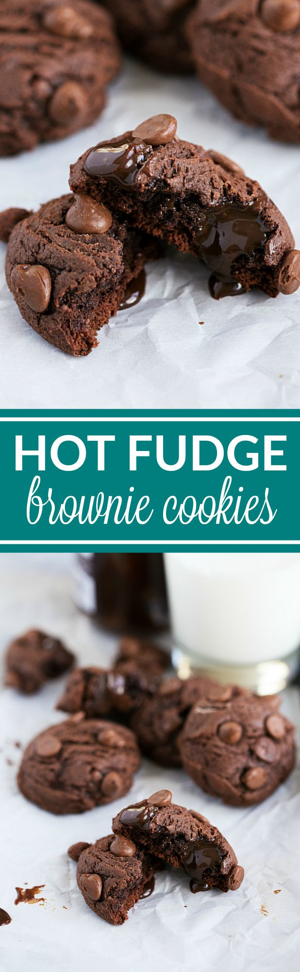 Only EIGHT ingredients to make these HOT FUDGE BROWNIE Cookies with triple the chocolate! Delicious and packed with flavor. Recipe via chelseasmessyapron.com