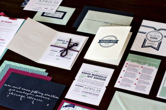 modern wedding invitations -- letterpress + digital -- designed by Kate Holgate {via ohsobeautifulpaper.com}