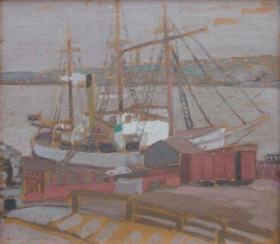 Albert H. Robinson - Quebec Harbour 11.25 x 13 Oil on panel