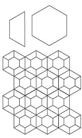 English Paper Piecing Hex and Half Hex Pattern
