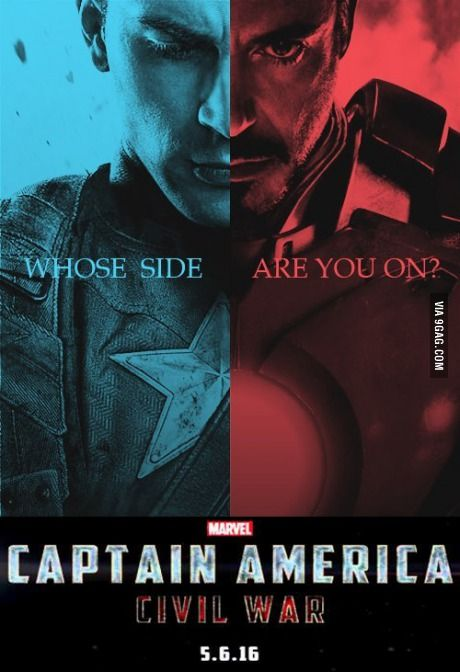 MARVEL'S Captain America 3 - Civil War (2016) | Release date: April 29 2016 | Following the events of the Age of Ultron, the collective governments of the world pass an act designed to regulate all superhuman activity. This polarizes opinion amongst the Avengers, causing two factions to side with Iron Man or Captain America, which causes an epic battle between former allies. - I'm solidly on Cap's side.