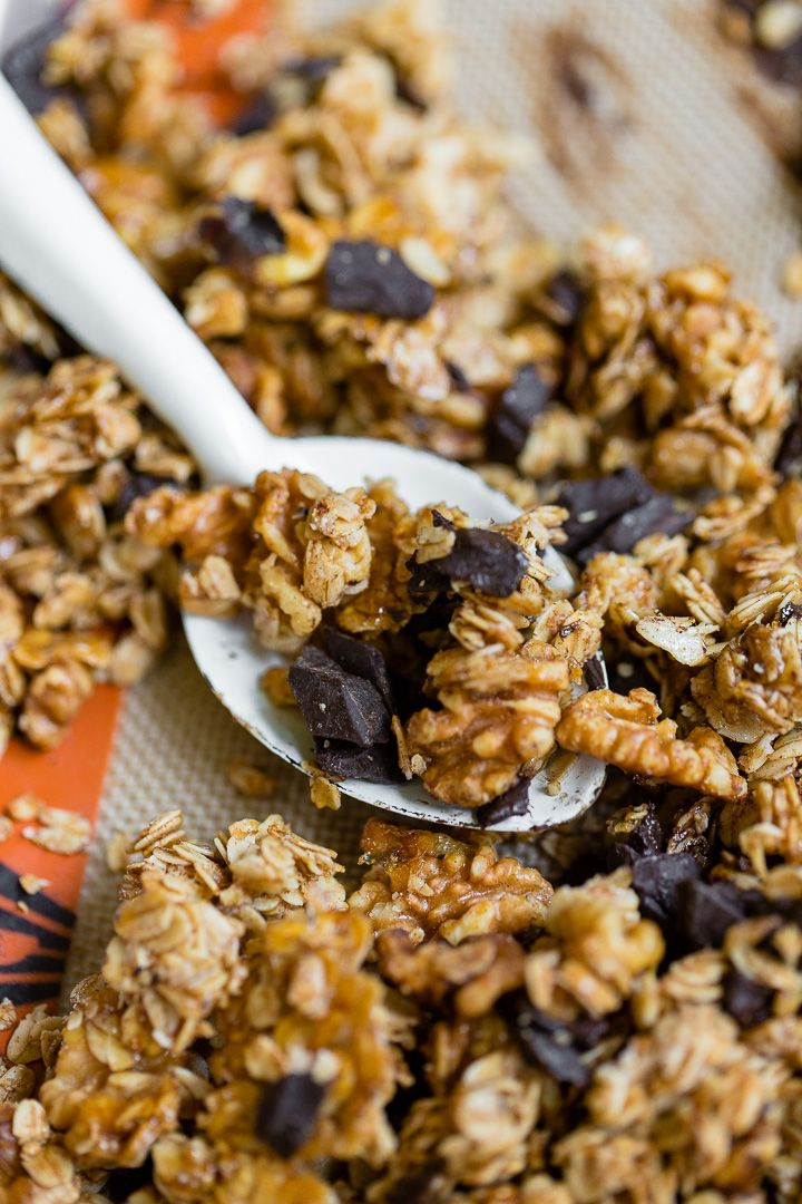 Honey Walnut Granola with Chocolate and Cinnamon