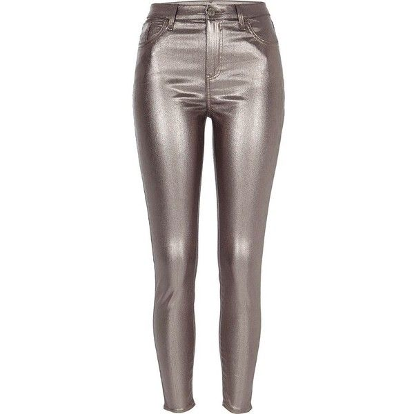 River Island Silver metallic Amelie super skinny jeans (€76) ❤ liked on Polyvore featuring jeans, bottoms, silver, skinny jeans, women, river island jeans, silver metallic jeans, brown skinny jeans, zipper skinny jeans and super skinny jeans