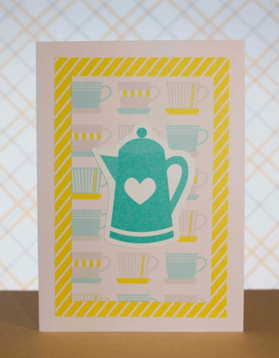 Yellow Teal and Grey Tea Time Greeting Card by TartanElephantAus, $6.00