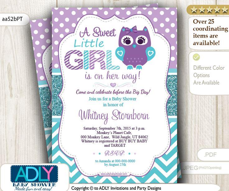 Purple Teal Girl Owl Baby Shower Invitation, $15.00 (http://www.adlybabyshower.com/purple-teal-girl-owl-baby-shower-invitation/)