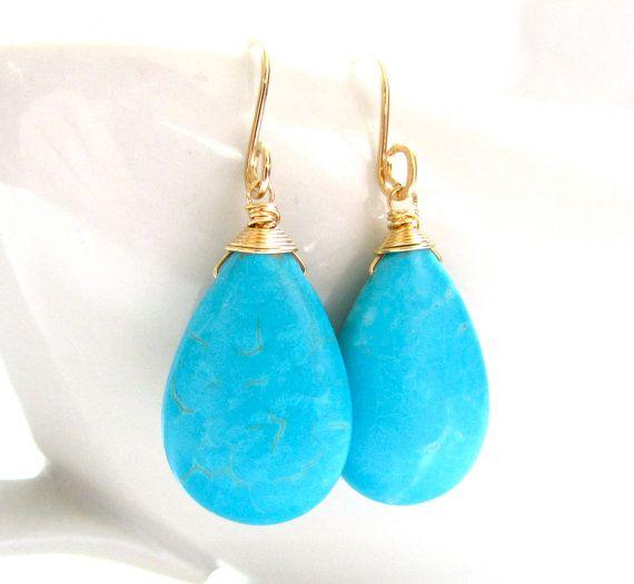 Fabulous Turquoise Earrings in 14k Gold!