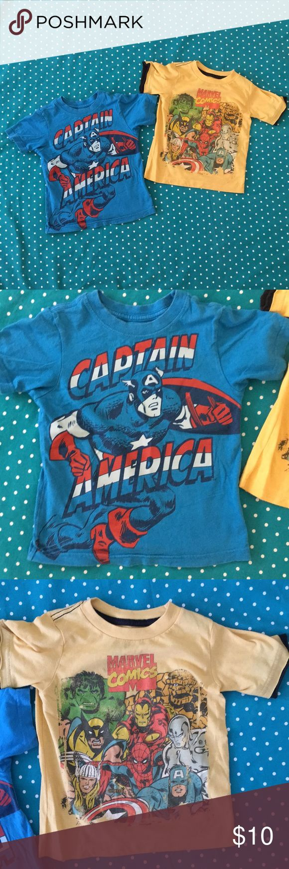 Marvel Comics - Short Sleeve Shirt Bundle - 3T Marvel Comics - Short Sleeve Shirt Bundle - 3T - in good condition. One owner. Smoke free & pet free home. Bundle or two shirts as shown in pictures. Marvel Shirts & Tops Tees - Short Sleeve