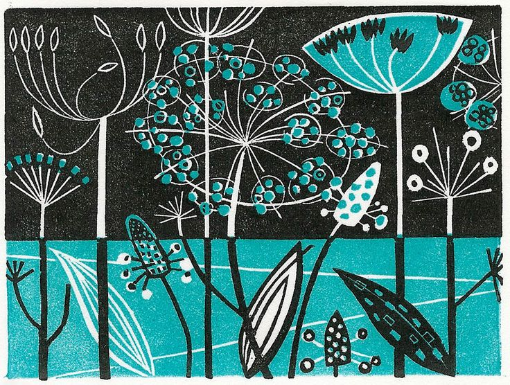 Clifftop - wood engraving print by Angie Lewin - printmaker